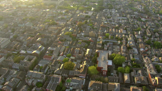 WS AERIAL Shot of flyover french quarter / New Orleans, Louisiana, United States