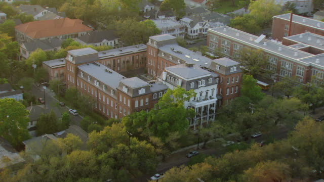 ws aerial shot of flyover st elizabeths building in french quarter / new orleans, louisiana, united states - boarding school stock videos & royalty-free footage