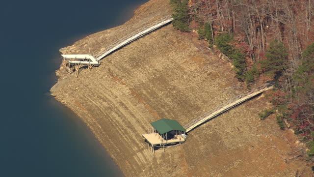 CU AERIAL ZO Shot of Fontana Lake and Nantahala National Forest / North Carolina, United States