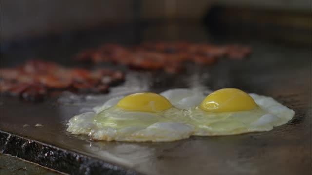 stockvideo's en b-roll-footage met ms shot of food cooking on grill, bacon, eggs and hash browns - gebakken ei