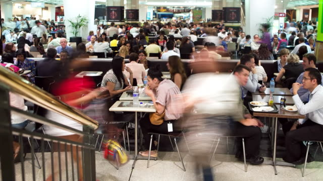ms tu t/l shot of food court at mall / sydney, pyrmont new south wales, australia - food court stock videos and b-roll footage