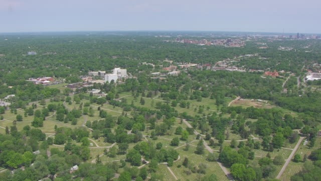 WS AERIAL Shot of Forest Hill Cemetery / Kansas City, Missouri, United States