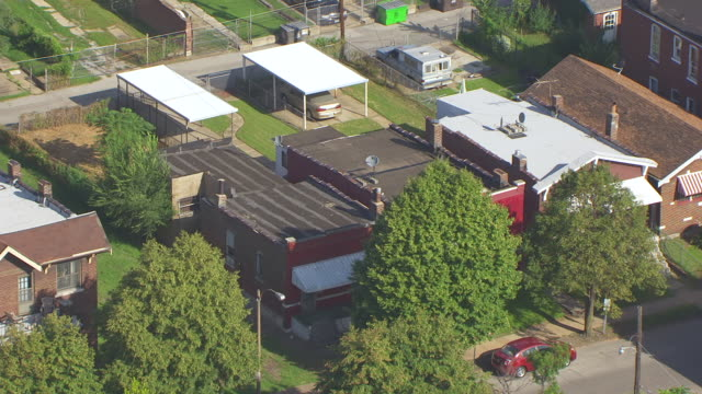 MS AERIAL ZO Shot of former home of Chuck Berry to surrounding neighborhood / St Louis, Missouri, United States