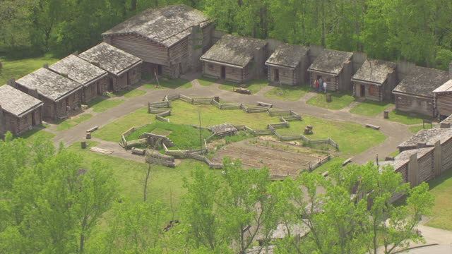 ms aerial zo shot of fort boonesborough state park / richmond, kentucky, united states - state park stock videos & royalty-free footage