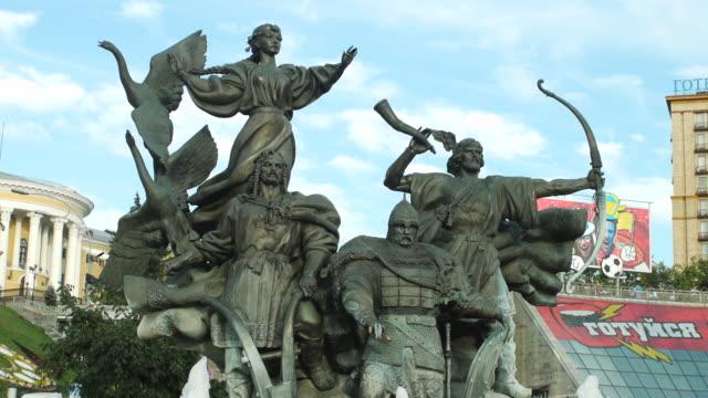 ms pan shot of founders statue / kiev, ukraine - female likeness stock videos & royalty-free footage