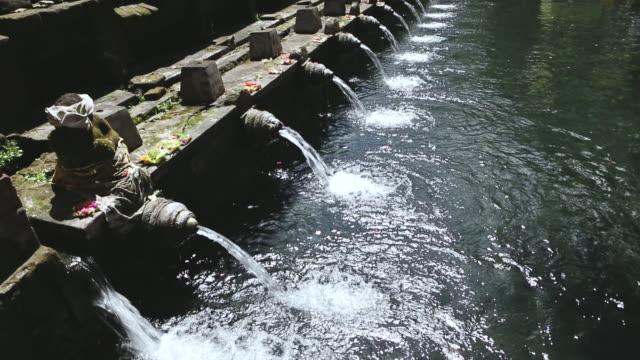 MS TU Shot of fountains in temple / Ubud, Bali, Indonesia