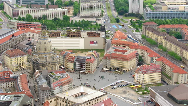ms aerial ts shot of frauenkirche church in city / dresden, saxony, germany - dresden frauenkirche stock videos & royalty-free footage