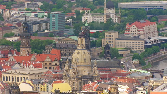 ms aerial ts shot of frauenkirche church surrounding area / dresden, saxony, germany - dresden frauenkirche stock videos & royalty-free footage