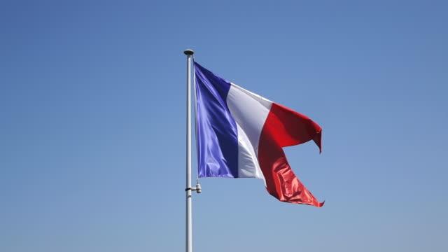 ms la shot of french flag / sierck les bains, lorraine, france - lorraine stock videos & royalty-free footage