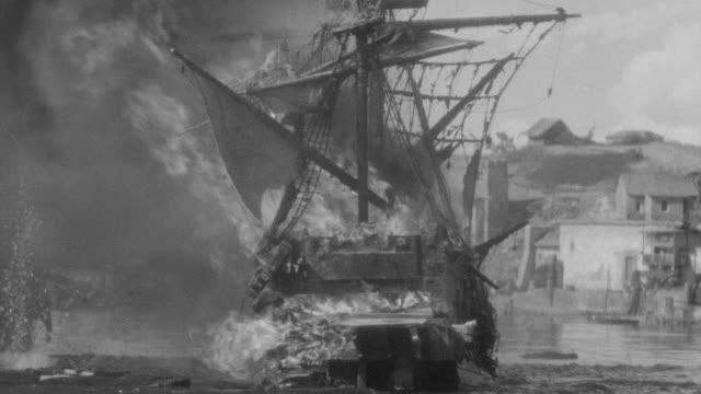 ms shot of french ship under attack and being blown up in harbor - battle reenactment stock videos & royalty-free footage