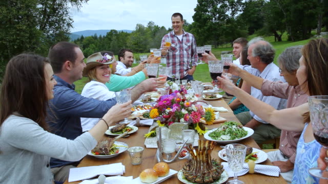 ms shot of friends cheers glass together on table, outside / manchester, vermont, united states - vermont stock videos & royalty-free footage
