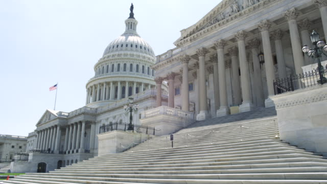 ms shot of front part and steps of capitol building / washington, district of columbia, united states - capitol building washington dc stock videos & royalty-free footage