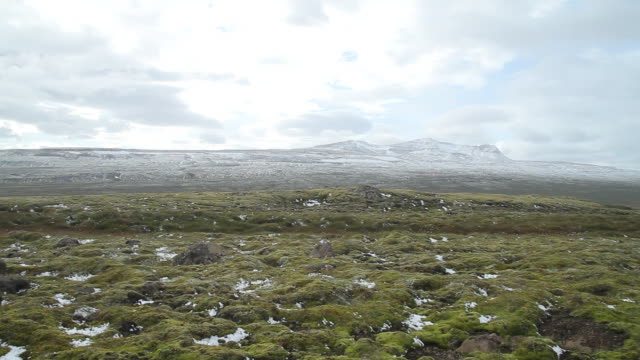 stockvideo's en b-roll-footage met ws pan shot of frosted grass with bright skies / hverageroi, sudhurland, iceland - wiese