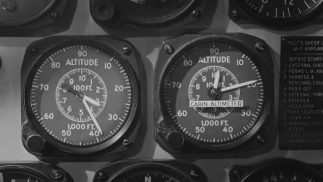 CU shot of Fuel gauge in cockpit of airplane on empty