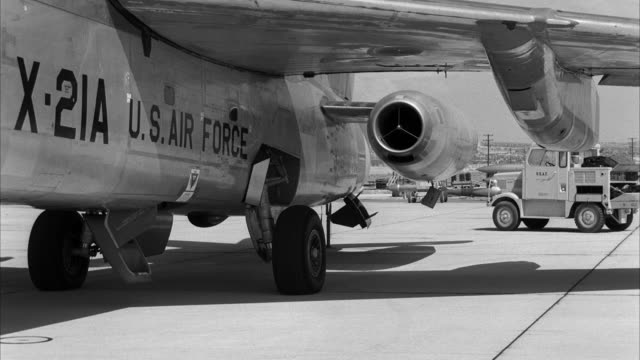 MS Shot of fuselage of jet airplane on airfield
