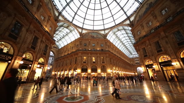 ws td shot of galleria vittorio emanuele ii arcade interior / milan, lombardia, italy - milan stock videos & royalty-free footage