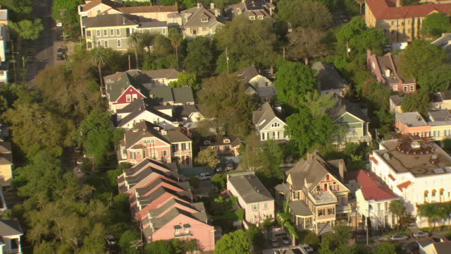 MS AERIAL Shot of garden district mansions / New Orleans, Louisiana, United States