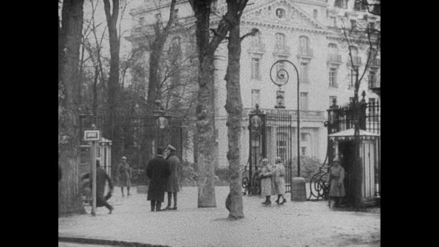 shot of gate and exterior of grand trianon where conference is being held / german delegate ulrich von brockdorffrantzau foreign minister of the... - 1910 1919 stock videos & royalty-free footage