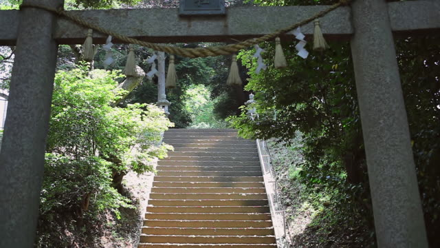 ms shot of gateway at entrance to sinto shrine / ichihara, chiba, japan - shrine stock videos and b-roll footage