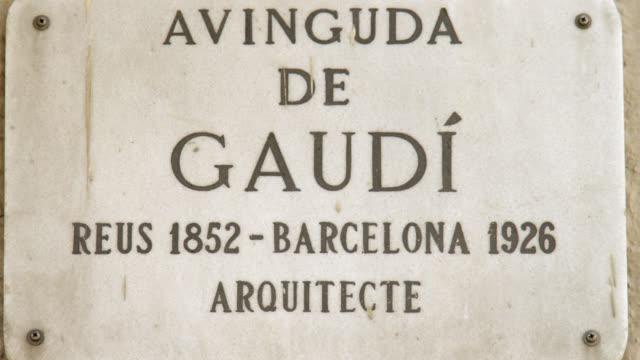 CU Shot of Gaudi's avenue sign / Barcelona, Catalunya, Spain