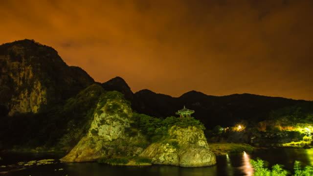 Shot of gazebo at Wollyubong mountaintop and the river