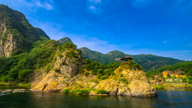 shot of gazebo at wollyubong mountaintop and the river - gazebo stock videos & royalty-free footage