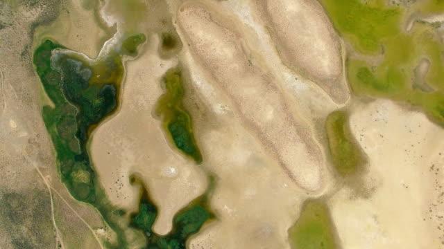 ゲビ砂漠、新疆、中国の空中ショット。 - オアシス点の映像素材/bロール