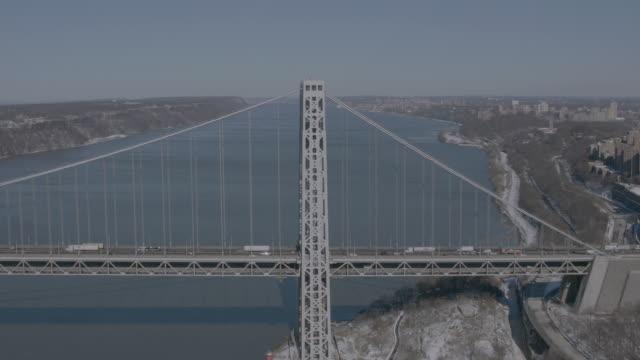 'WS TU AERIAL Shot of George Washington Bridge / New York City, United States'
