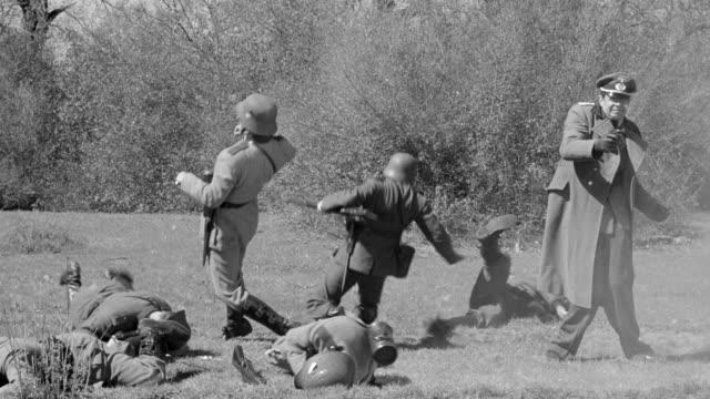 MS Shot of German soldiers firing towards plane