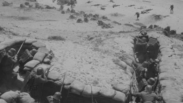 ms shot of german soldiers in trench at war - schützengraben stock-videos und b-roll-filmmaterial