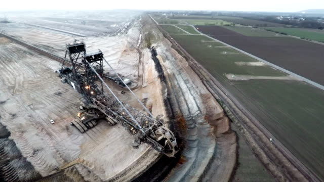AERIAL shot of Giant Digger in Open Cast Mine