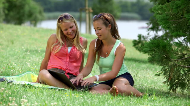 vidéos et rushes de ms shot of girl sitting in park on blanket and typing on notebook / losheim am see, saarland, germany - seulement des jeunes filles