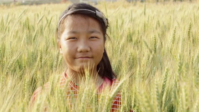 CU Shot of girl standing in wheat field / Kathmandu, Nepal