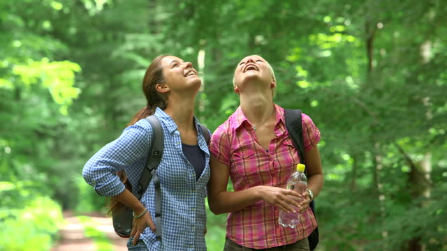 MS Shot of girls hiking in wood land, having rest / Kastel Staadt, Rhineland Palatinate, Germany