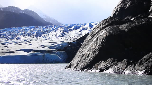 ms shot of glacier / grey glacier, torres del paine, chilean patagonia, chile - patagonia chile stock videos and b-roll footage
