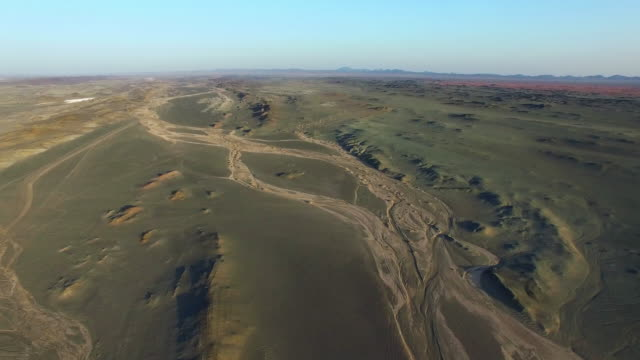ws aerial shot of gobi scenery at sunset/xinjiang,china. - riverbed stock videos & royalty-free footage