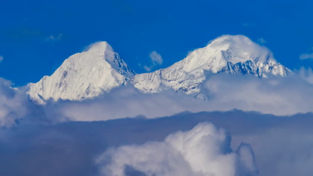 T/L shot of Gongga mountain in Western Sichuan/Sichuan,China