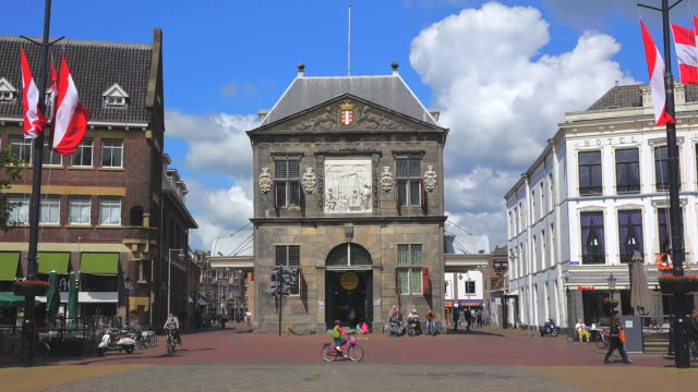 MS Shot of Goudse Waag, Cheese and Craft Museum at Market Square / Gouda, South Holland, Netherlands