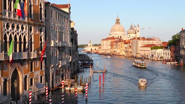 WS Shot of Grand Canal with domed church of Santa Maria Della Salute / Venice, Veneto, Italy