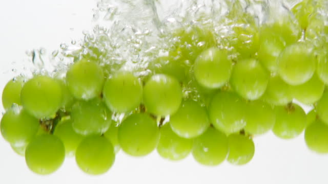 vidéos et rushes de ecu slo mo shot of grapes falling into water / toronto, ontario, canada  - raisin