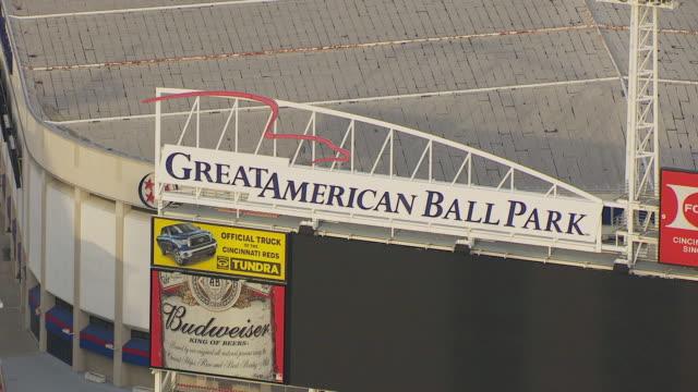 CU TS ZO AERIAL Shot of Great American Ballpark sign and stadium / Cincinnati, Ohio, United States