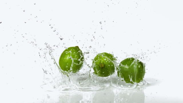 cu slo mo shot of green lemons, citrus aurantifolia, fruits falling on water and splashing against white background / calvados, normandy, france - calvados stock videos and b-roll footage