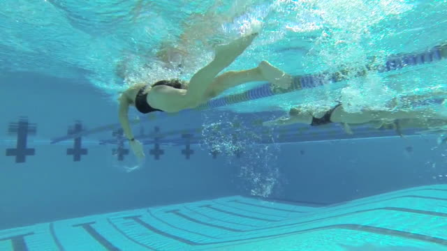 CU POV TS SLO MO Shot of group of freestyle swimmers in lanes in underwater / Davis, California, United States