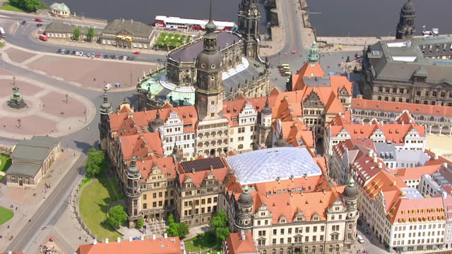 ms aerial ts shot of grunes gewolbe with pedestrian and small river in city / dresden, saxony, germany - dresden germany stock videos & royalty-free footage