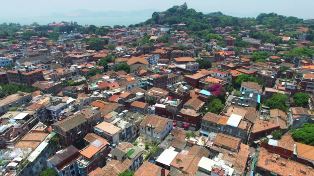 WS AERIAL shot of Gulangyu Island houses/Xiamen,Fujian,China