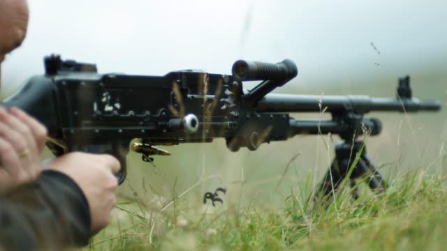 CU SLO MO Shot of Gun being fired - LMG / United Kingdom