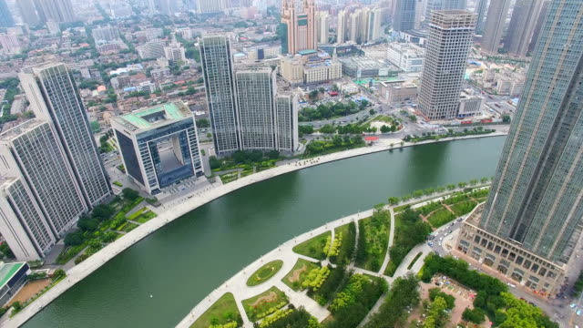 aerial shot of  hai river flows through tianjin/tianjin,china - hai river stock videos & royalty-free footage