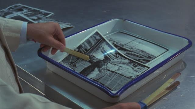 ms shot of hand washing positive print in photographic labratory tray - temi per la fotografia video stock e b–roll