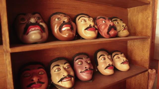 MS Shot of handmade masks / Mas, Bali/Gianyar/Ubud, Indonesia