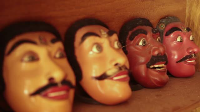 cu r/f shot of handmade masks / mas, bali/gianyar/ubud, indonesia - five objects stock videos & royalty-free footage